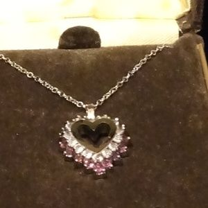 Genuine Amethyst and Crystal Heart Necklace